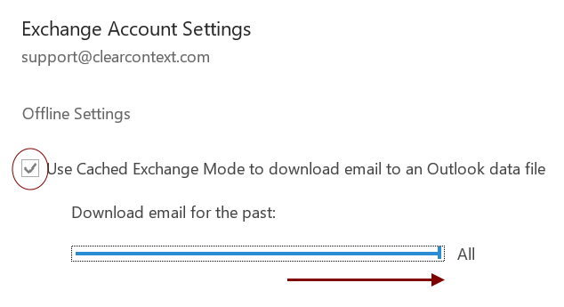 Cached Exchange Configuration