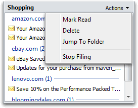 Act on filed messages in the unread pane
